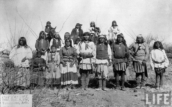 """Band of Chiricahua Apache Indians, followers of legendary renegade Geronimo, attending a peace negotiation after a long struggle against US gov't attempts to force them onto reservations. Location: Tombstone, AZ, US Date taken: 1886"""