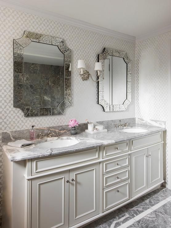 Gray Marble Floor Tiles Lead To A Cream Dual Washstand Fitted With