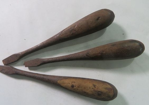 Vintage Cabinet Maker Screwdriver 3pcs Wood Inlaid Handle 4.9 ...