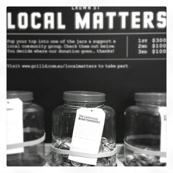 The @CommunityBrave jar at @GrilldBurgers is part of the 'Local Matters' program - support this community initiative!
