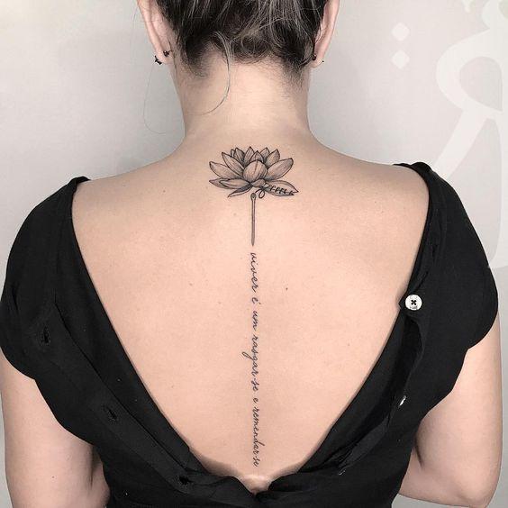 Tattoo Back Tattoo English Short Sentence Tattoo Spinal Tattoo Tattoo Quotes Meaningful Tattoo Creative Tat Flower Spine Tattoos Tattoos For Women Tattoos