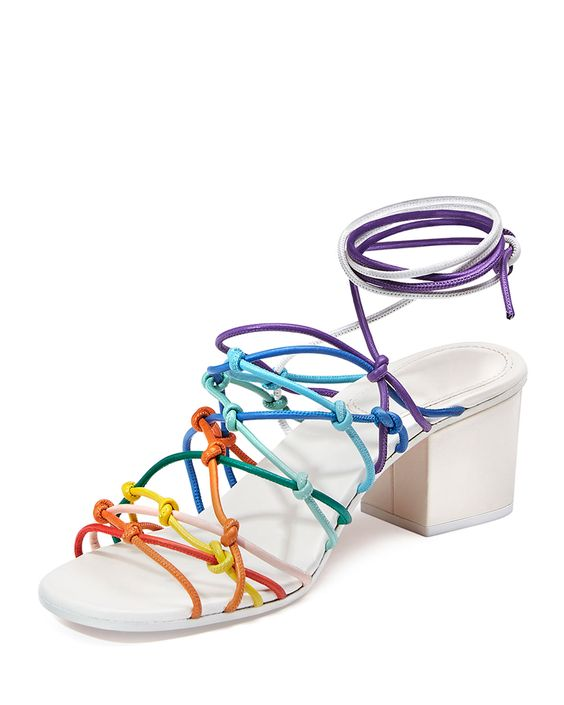 Chloe Knotted Ankle-Wrap Sandal, Multicolor