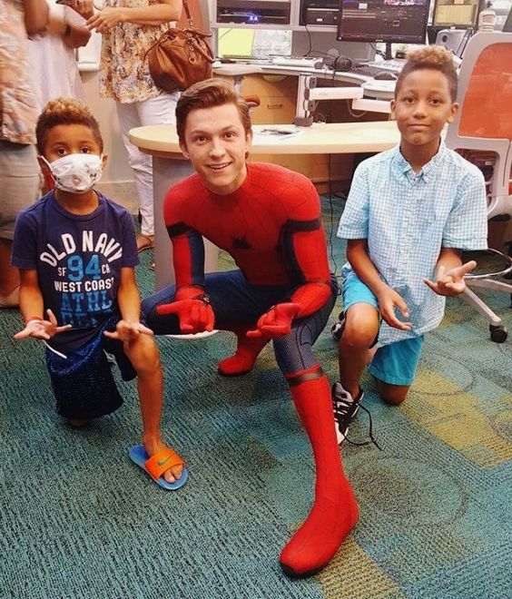 Tom Holland visiting a children's hospital as Spiderman - visit to grab an unforgettable cool 3D Super Hero T-Shirt!
