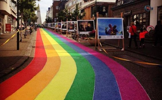 Brilliant! - A road in Iceland's capital Reykjavik painted with a huge rainbow, ahead of the city's Pride parade.: