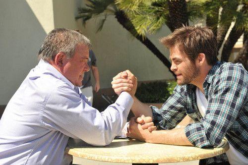 Kirk armwrestling himself.
