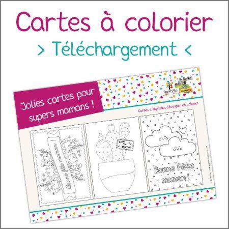 Carte fête des mères à colorier