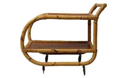 mid-century bamboo cart