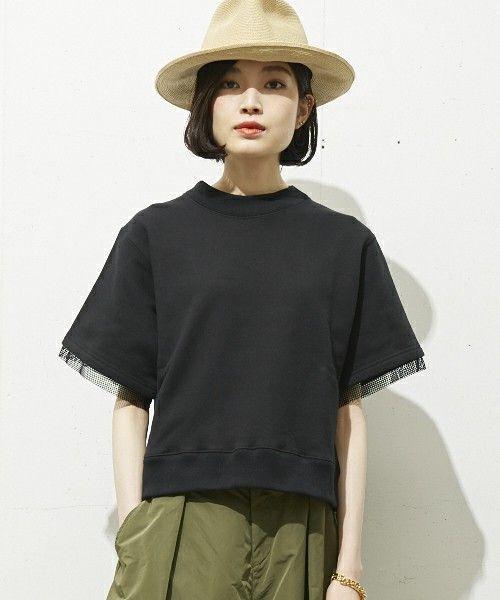 603 WOMENS(ロクマルサンウーメンズ)の603 度詰裏毛半袖スウェット(スウェット)|ブラック L 47.5 肩巾40.5 身巾48 袖丈22.5