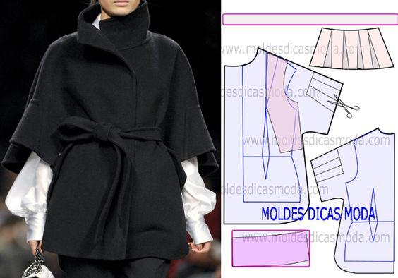 MOLDE CASACO CAPA -29 - Moldes Moda por Medida