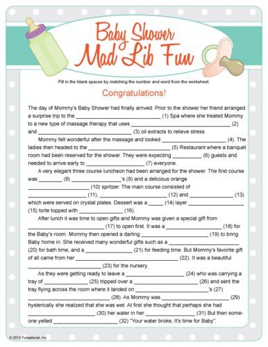 Baby Shower Mad Lib Fun