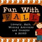 Fall activities for 2nd-4th Grade; Turkey, pumpkin, bat and leaf themed literacy, writing prompts and paper, math, and a list of extra fall activities for teachers to use!