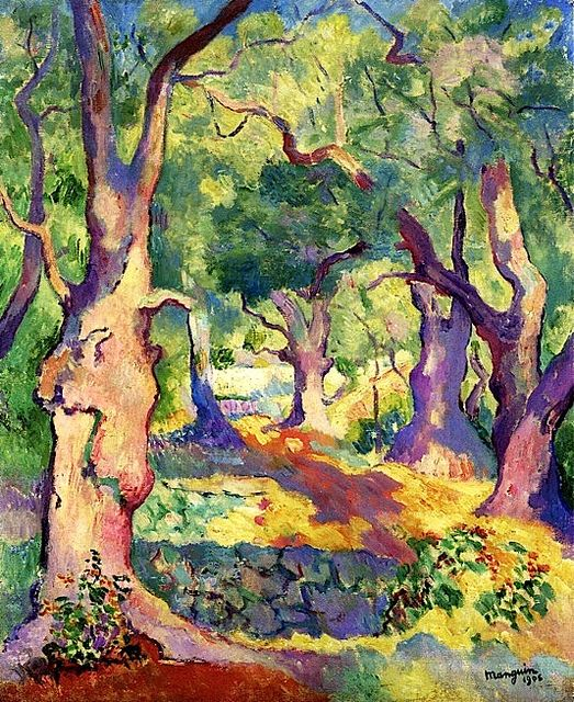 Olive Trees in Cavaliere - Henri Manguin - 1906 - Fauvism (Bold colours, simple drawings, often blocky, landscapes are common, expresses emotion) This artwork shows fauvism through the use of its highly bold colours, the landscape scene, the simple shapes and the blocky patches of colour in certain areas.