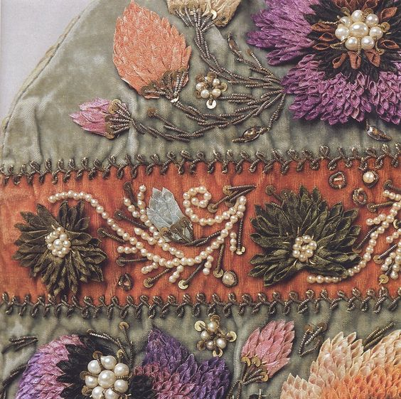 Costume of the Kazan' Tatars  Folded silk flowers with sequins, beads, pearls and twisted metal wire.