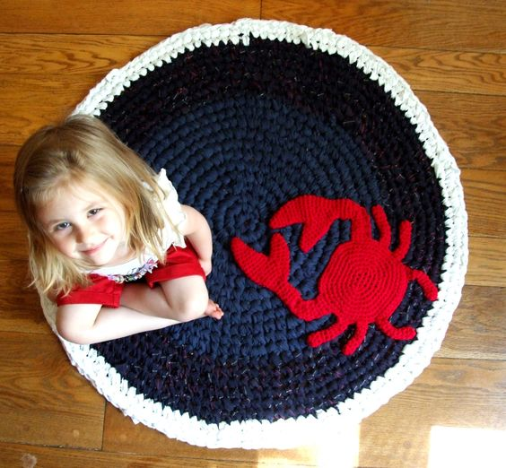 Crochet Rug Upcycled Cotton Nautical Crab Navy, White, and Red Circle Accent Rug Nautical Nursery Rug One of a Kind. $154.00, via Etsy.