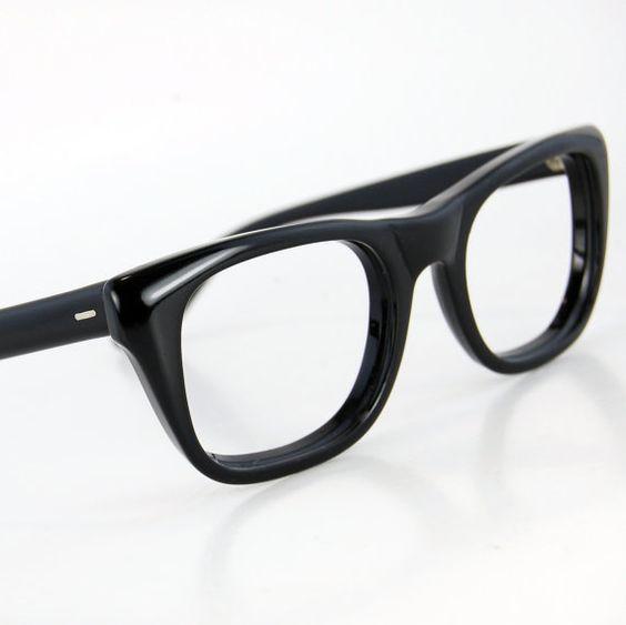 Vintage 50s Men Thick Black Horn Rim Cat Eye Glasses ...
