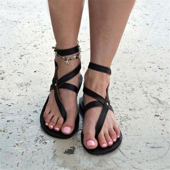 Roman Style Toe Buckle Flat Sandals – nanashoe
