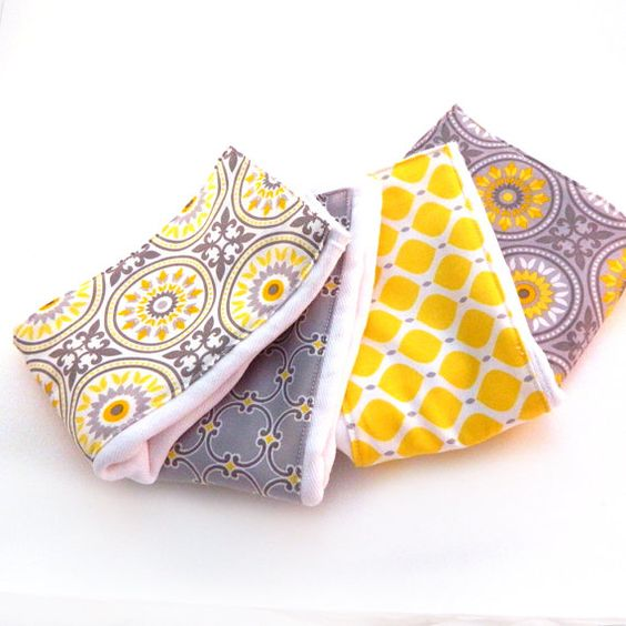 Gray & Yellow Baby Burp Cloths   Geometric by Sewingdreamsnotions