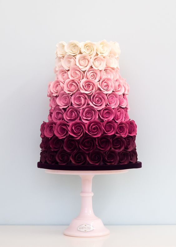 Ombre Rose Wedding Cake This is beautiful. And they got to have it for a wedding cake but it's beautiful: