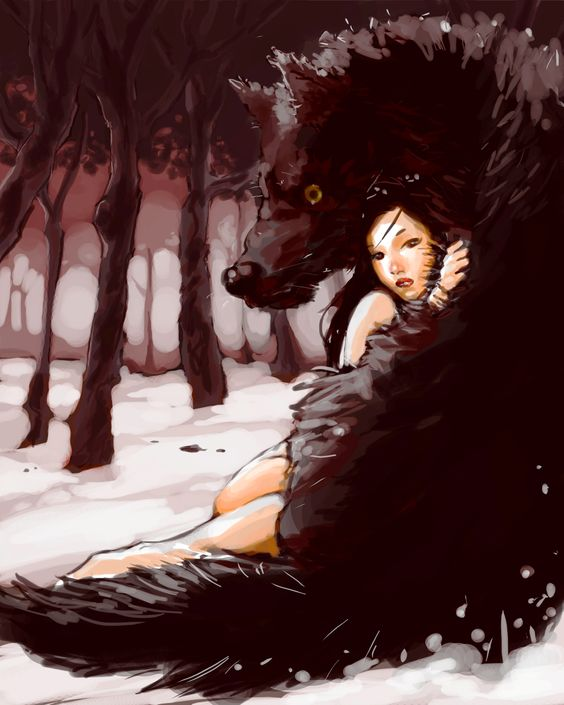 a great illustration...so much emotion expressed by both the girl & wolf...love the predominantly monochromatic scene...very dramatic.