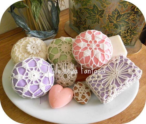 Crochet wrapped soaps