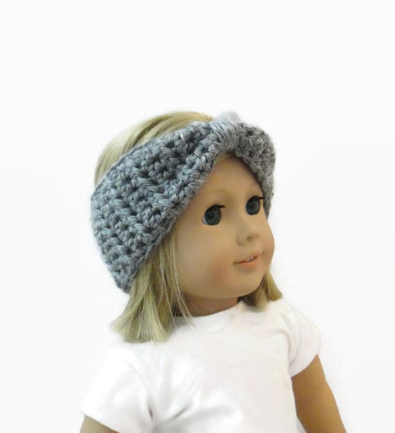 Doll Headband Turban Style Gray by PreciousBowtique on Etsy