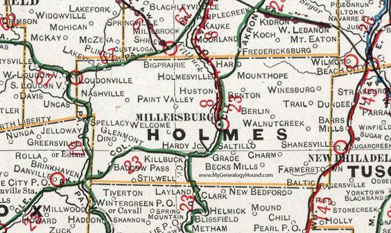 Holmes County, Ohio, 1901, Map, Millersburg, Holmesville, Lakesville, Nashville, Glenmont, Killbuck, Mount Hope, Berlin, Winesburg, Charm, OH