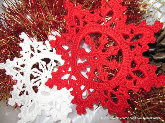 """Crochet """"Christmas Snowflake"""" Coasters Set, Drink Coasters 4 pc """"Merry Christmas"""" Table Decorations, Crochet Snowflake, Lyubava Crochet. $23.99, via Etsy."""