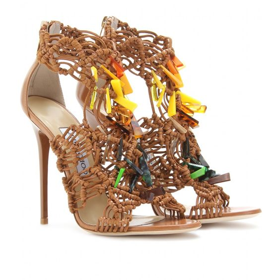 IRIS EMBELLISHED LEATHER SANDALS seen @ www.mytheresa.com