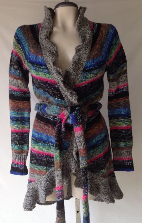 ANTHROPOLOGIE MOTH WOOL RUFFLE STRIPED COLORFUL BELTED CARDIGAN SWEATER COAT S #Moth #Sweatercoat