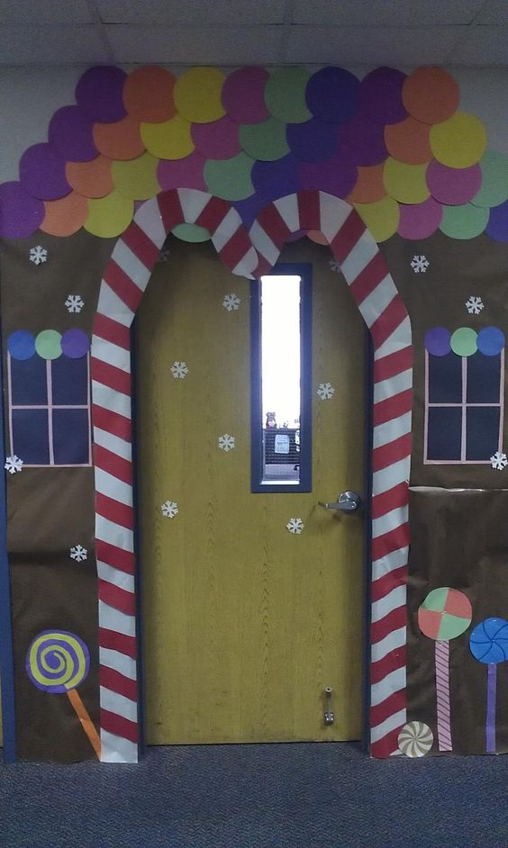 Candy canes on the sides of the door but pointing to the for P g class decoration