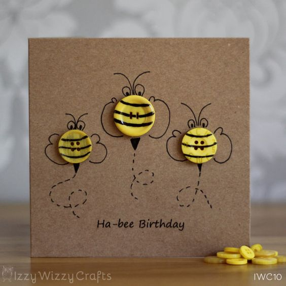 Hap-bee Birthday Bee Button Birthday Cards by IzzyWizzyCrafts