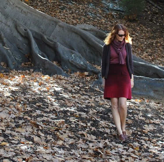 really like the ombre (velveteen!) skirt, the colors, and the layering