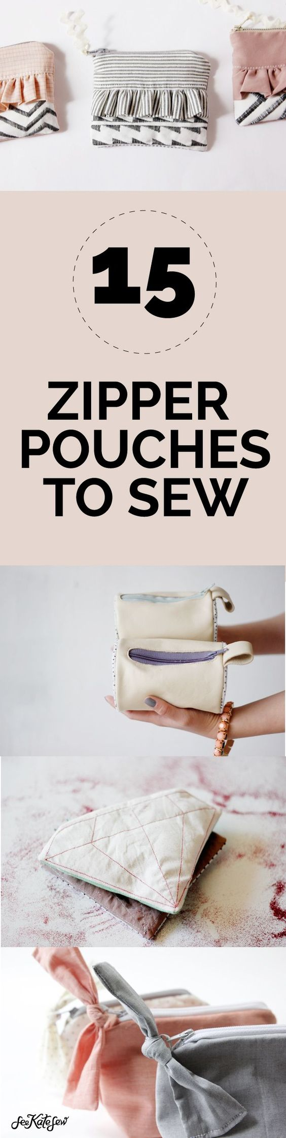 15 Zipper Pouch Tutorials | DIY Sewing Instructions on How to Sew Small Zipper Bags