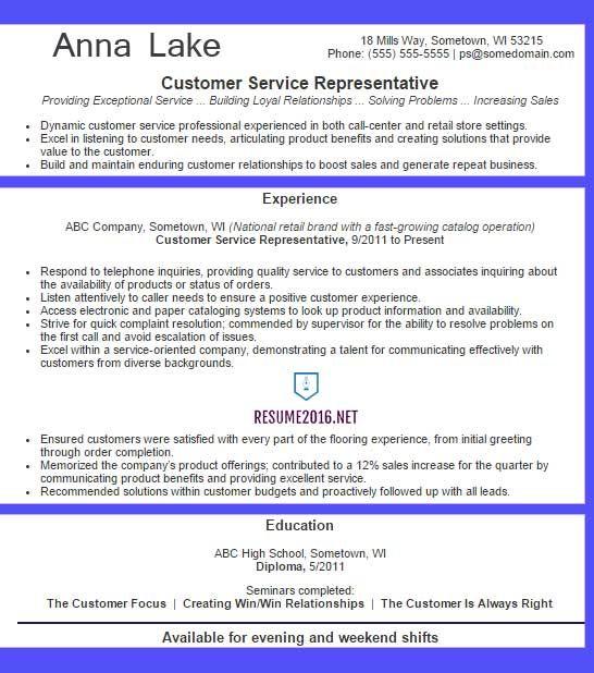 Customer Service Representative Resume Example 2016 Customer