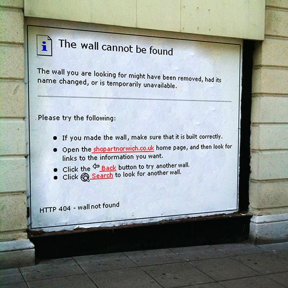 'The wall cannot be found'