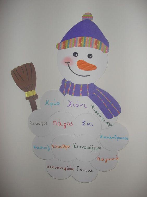 χιονανθρωπος με λεξεις του χειμώνα