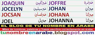 letras arabes para tatuajes nombres: JOAQUIN, JOCELYN, JOCSAN, JOEL