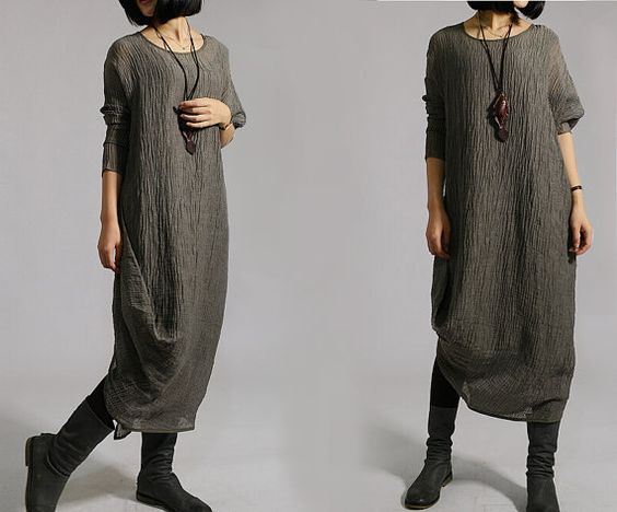Women Two-piece Gray Green Maxi Dresses Long Sleeve Loose Fit Dresses Autumn Clothing For Women(MM014) on Etsy, $65.00