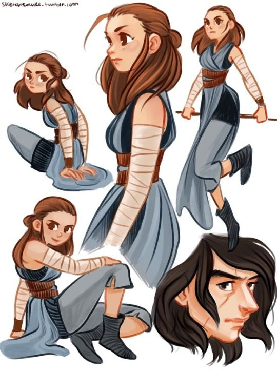 A Lot Of Rey Sketches From Sketch Sauce She Looks So Cute One Of