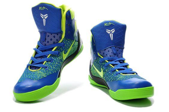 Womens Nike Kobe 9 Elite High Top Blue/Neon Green-White Girls Free Shipping Sale