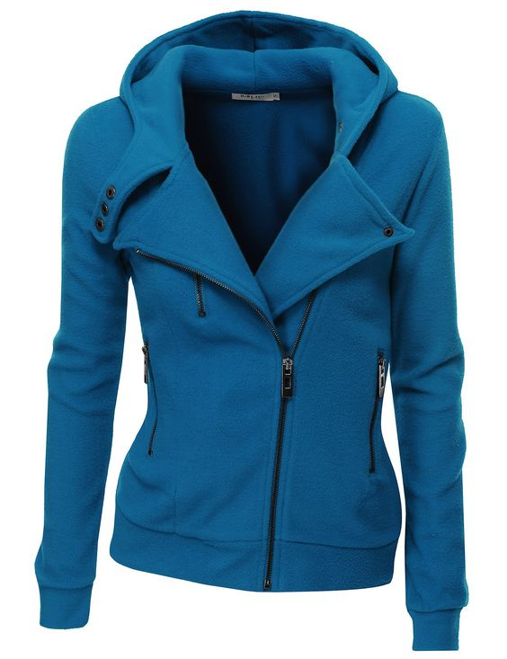 Doublju Womens Zip-up Hood Jacket in Fine Stretch Cotton at Amazon ...