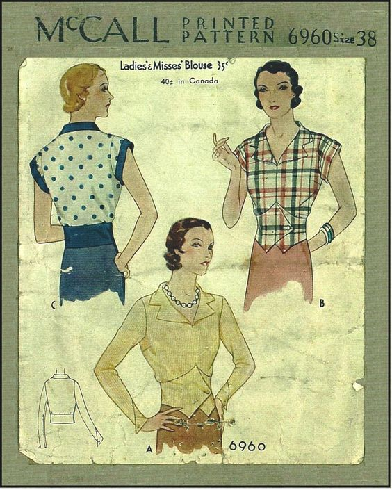 1930s Ladies Blouse In Vest Style With Different Sleeve Options Sewing Pattern - McCall #6960