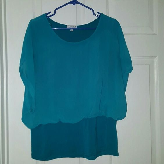 FINAL PRICE * Dress Shirt Joseph A. Dress Shirt teal/turquoise. only worn once. lace like material over the top and on the sleeves. sleeves are see through Joseph A. Tops Blouses
