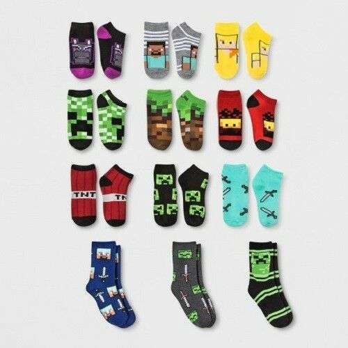 Boy S Minecraft 12 Days Of Socks Missing One Pair Small Shoe Size 5 5 8 5 Minecraft Playing Game Kids Socks Socks Advent Calendar Sock Gifts