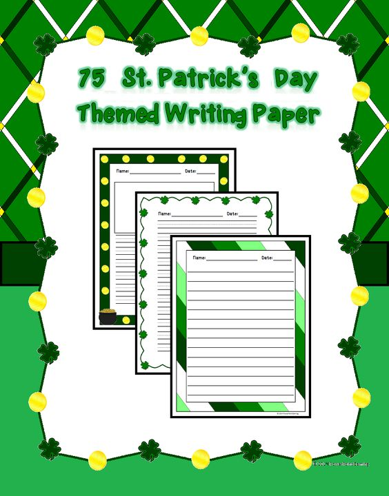 75 St Patricku0027s Day Themed Writing Paper Boxes and The ou0027jays - lined paper with drawing box