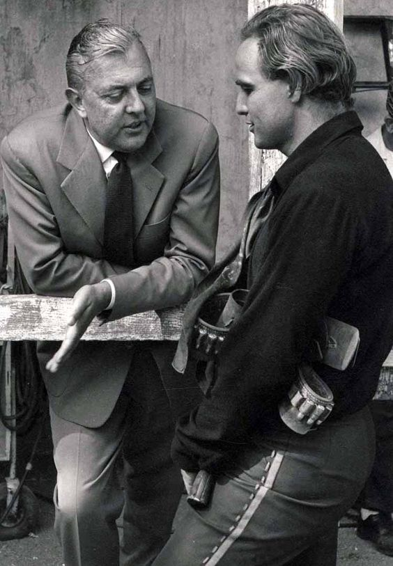 Jacques Tati & Marlon Brando on the set of One Eyed Jack - La vengeance aux 2 visages
