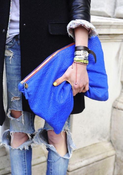 Bright, over-sized clutch.