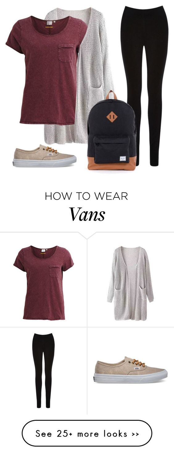 """""""First Day Outfit?"""" by camymc7 on Polyvore featuring Object Collectors Item, Oasis, Herschel and Vans"""