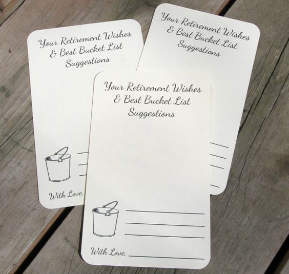 set of 12 retirement wishes advice bucket list suggestion cards tags for retirement party. Black Bedroom Furniture Sets. Home Design Ideas