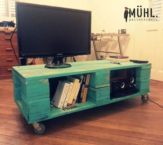 Mesa tv palets pinterest mesas pallets and tvs - Como hacer un mueble para tv ...